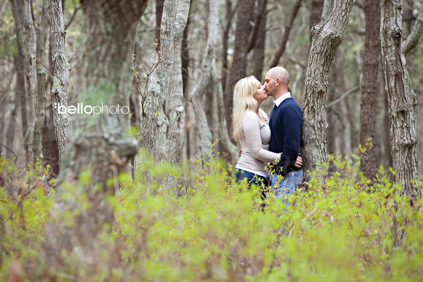 Couple kissing in the Woods, Cape Cod Engagement Session