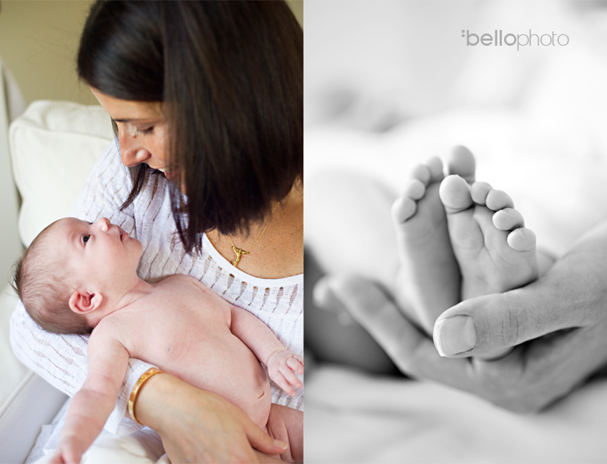 baby with momma, newborn feet