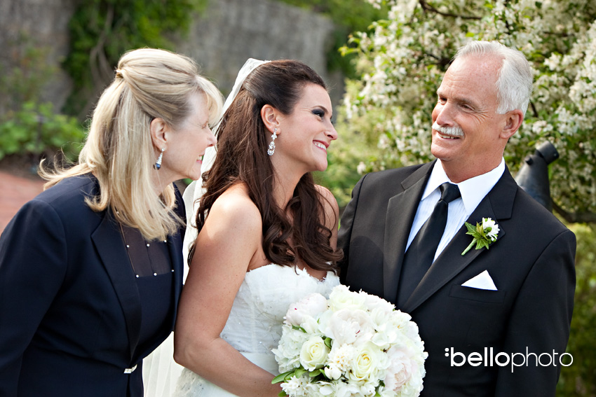 bride with parents, cape cod photographers, bello photography