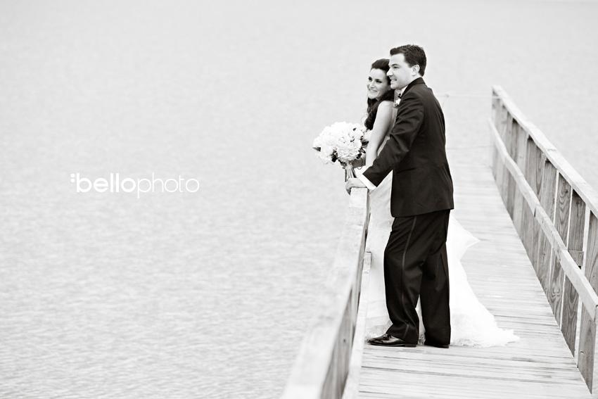 bride & groom on dock, cape cod photographers, bello photography, wequassett
