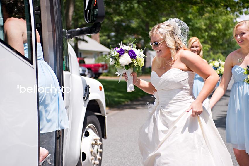 bride on trolley
