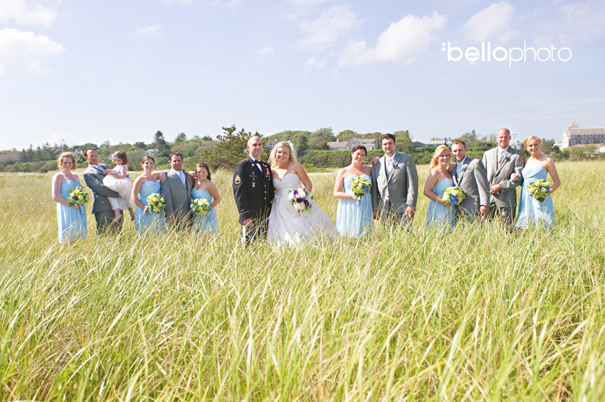 bridal party in beach grass
