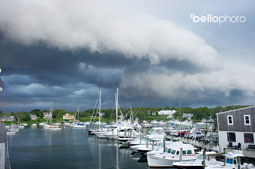 storm clouds over harbor