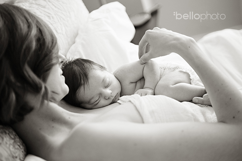 baby sleeping on mom, NYC newborn photographer