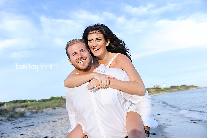 couple in love, piggyback, beach engagement session