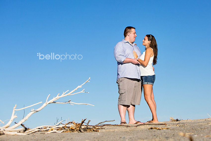 newly engaged couple on beautiful beach