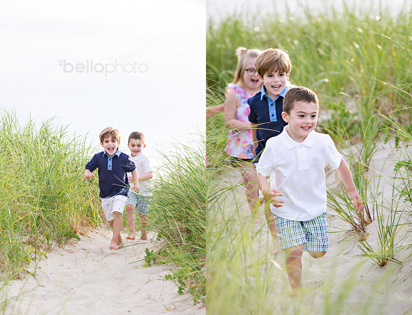 kids running through beach grass