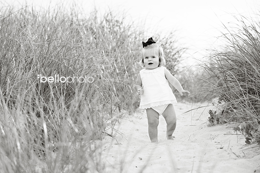 baby girl beach grass