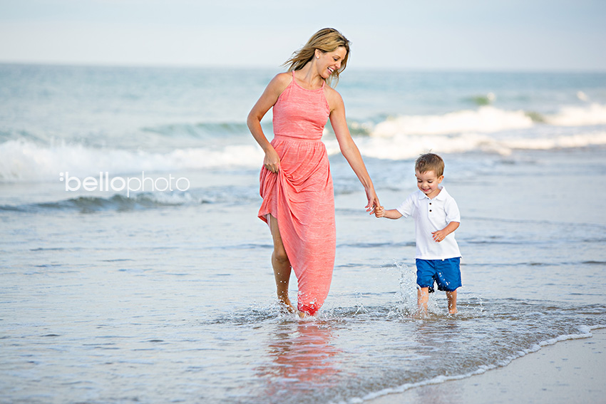 mom & son walking on beach