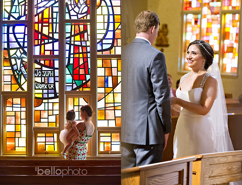holy trinity wedding, stained glass church