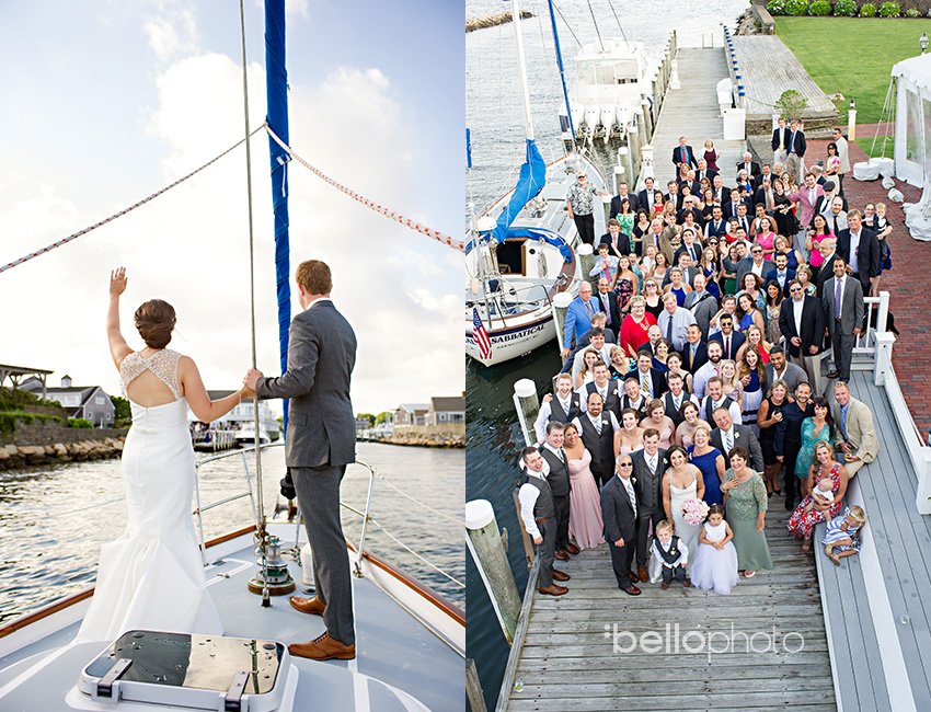 wychmere wedding, bride & groom sail into reception