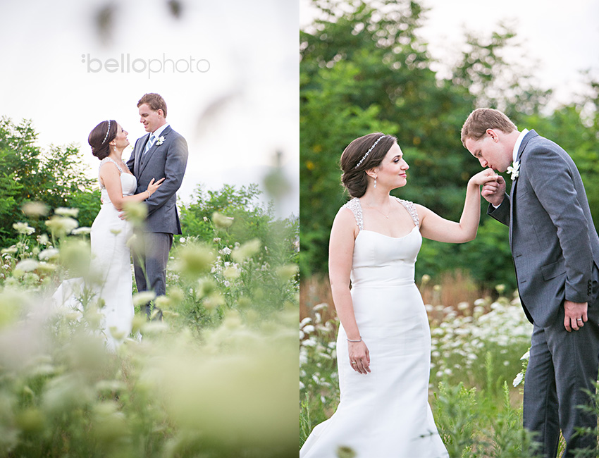 bride & groom in a field of flowers