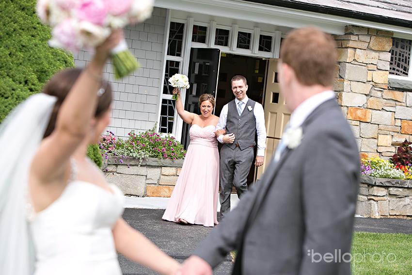 bride & groom celebrate after ceremony