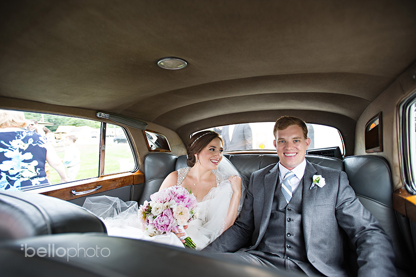 bride & groom in rolls royce
