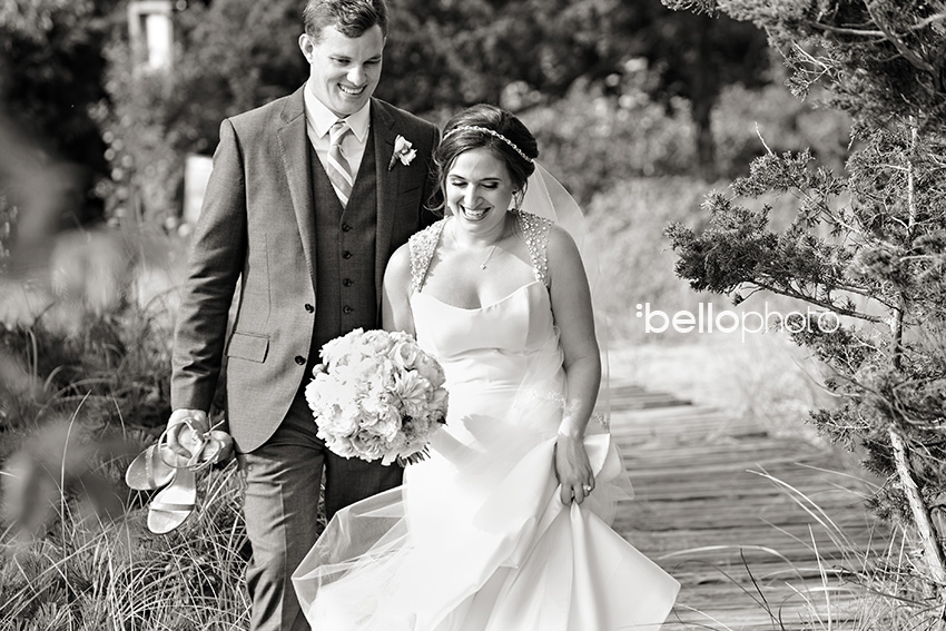 bride & groom on beach path