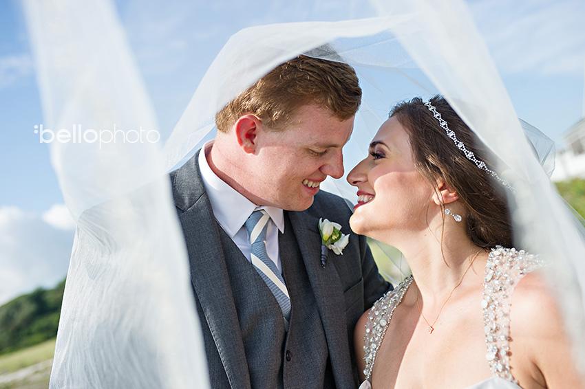 bride & groom under veil