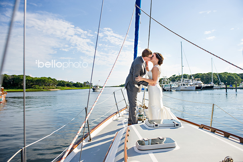 bride & groom on sailboat