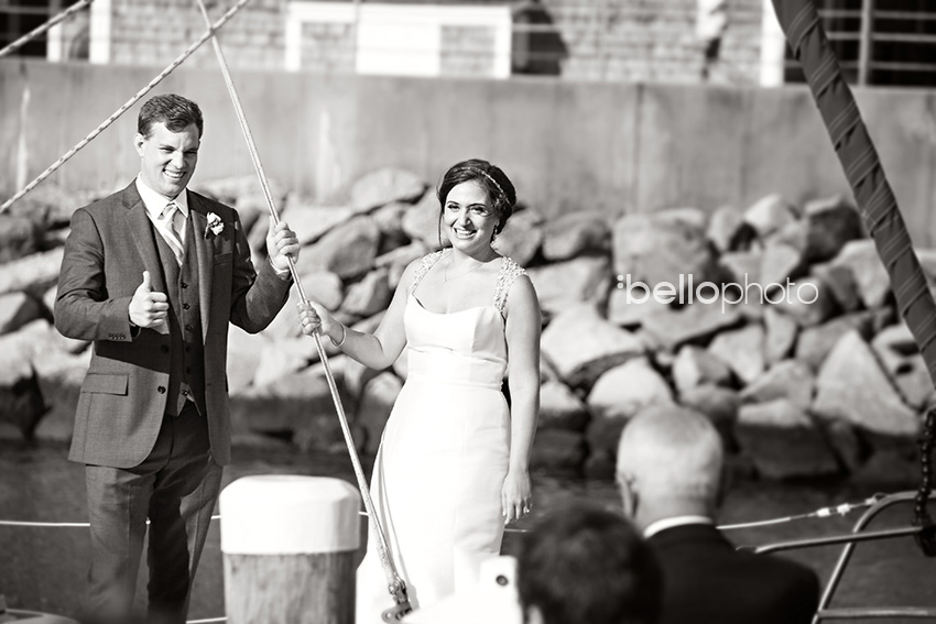 bride & groom sail in to reception