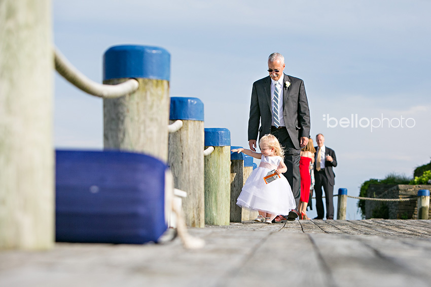 flower girl waits for bride