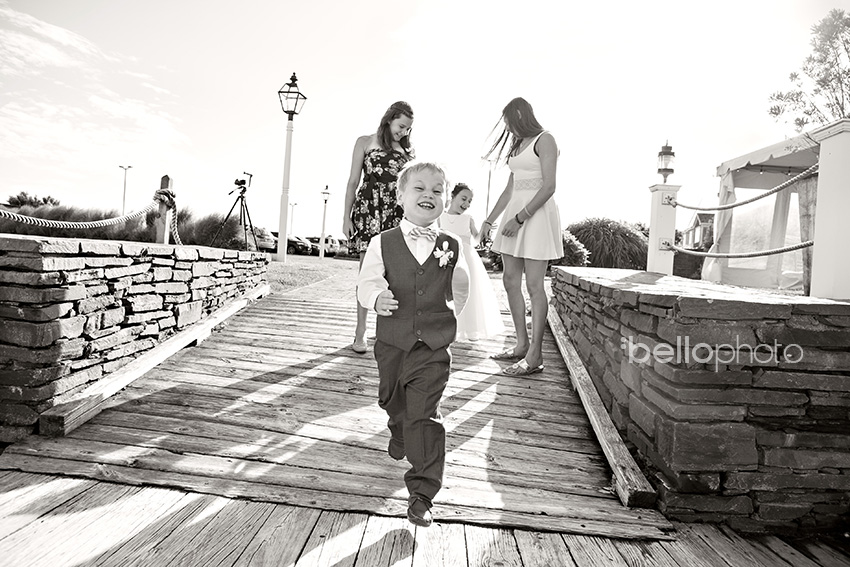 ring bearer having fun at wedding