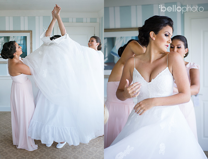 bride getting dressed, monique lhuillier wedding dress