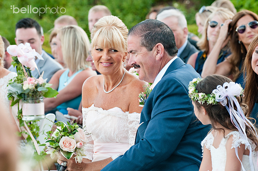 parents of bride react during wedding