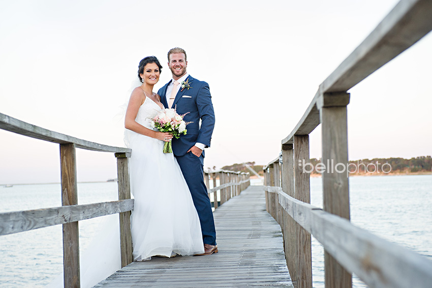 bride & groom on wequassett dock