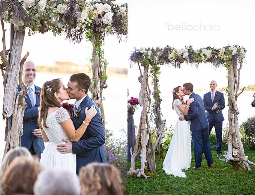 13 outdoor wedding ceremony kiss