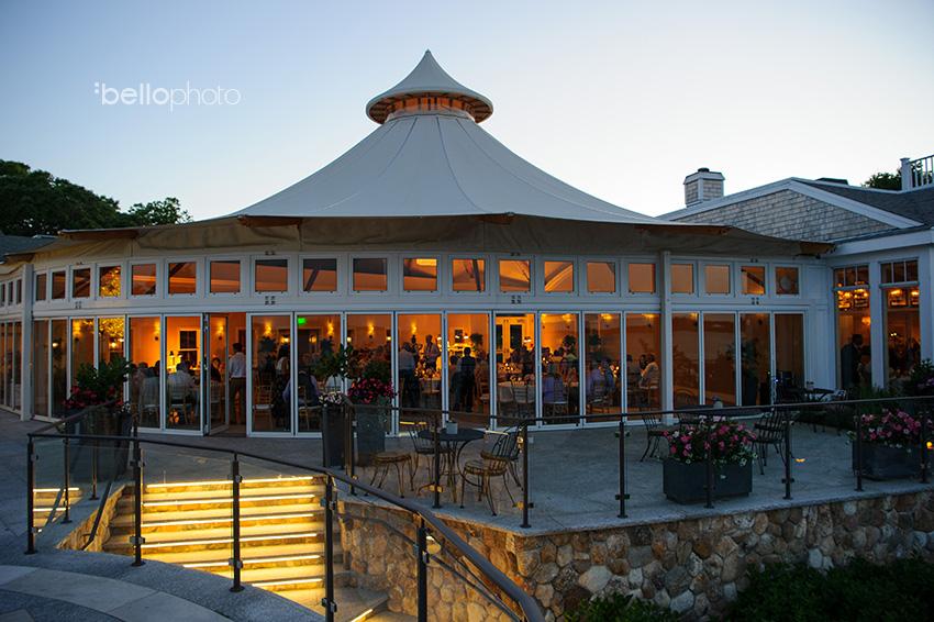 wequassett resort garden terrace at dusk